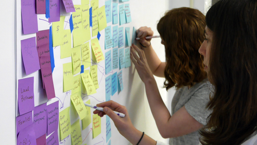 CUNY employees review Post-Its during a design thinking workshop